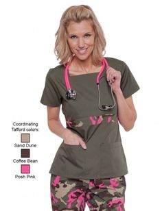 Solid Olive With Posh Pink Camo Trim Scrub Top