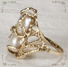 Baroque pearl rings | Sensational Vintage Cultured Baroque Pearl Diamond 14k Gold Ring from ...