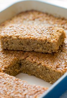 These baked oatmeal squares are perfect for a healthy breakfast on the go! Lots more healthy breakfast ideas on link