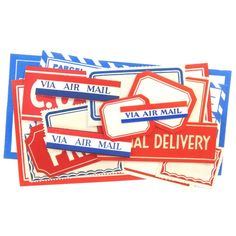18 Red, White, and Blue Airmail Labels