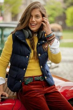 wicked preppy -- a Ralph Lauren puffy vest over casmere sweater and red velvet jeans with just a touch of tartan outfit Preppy Mode, Preppy Girl, Preppy Style, Preppy Looks, Girlie Style, Ivy Style, Style Me, Cute Fashion, Look Fashion