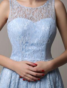Vestido de dama de honra de ilusão de laço azul curto com Scoop volta