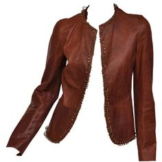 Pre-owned Tom Ford for YSL ring embellished cognac leather jacket (5,295 CAD) ❤ liked on Polyvore featuring outerwear, jackets, blazers, tops, coats, leather jacket, embellished leather jacket, brown jacket, real leather jacket and 100 leather jacket