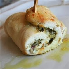 Pesto Cheesy Chicken Rolls -These are simply delicious and so easy! To make them easier to roll I used shredded mozzarella cheese and added sun-dried tomatoes for a little color and a little added flavor (not that it needs any). To prevent the pesto and cheese from leaking out dip the rolls into egg and then italian style bread crumbs. These were done in 35 minutes at 350. Very moist and a nice presentation. It looks like you spent hours!