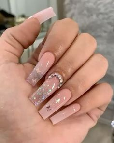 In seek out some nail designs and ideas for your nails? Listed here is our set of must-try coffin acrylic nails for modern women. Long Square Acrylic Nails, Pink Acrylic Nails, Coffin Nails Long, Long Nails, Glitter Ombre Nails, Long Square Nails, Pastel Nails, Short Nails, Aycrlic Nails
