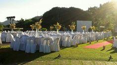 Yellow garden wedding reception