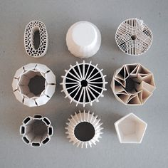 "3D printed ceramic - Experimentation with wall structures and textures. ""The goal is to create objects that are more structural and in which there is an interplay between an inside complex structure and a shell like you see in many organic things like plant cut throughs, seeds, diatoms etc."" - by Belgian design studio Unfold, photo by Unfold"