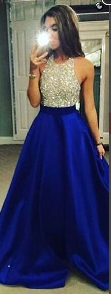 A-line Long Prom Dresses,Royal Blue Prom Dress,Beaded Evening Dresses,Satin Beading Handmade Prom Gowns,Evening Gowns,Cheap Prom Gowns,Modest Prom Dresses,Sparkly Prom Dresses,Elegant Prom Dresses,Prom Dress For Teens