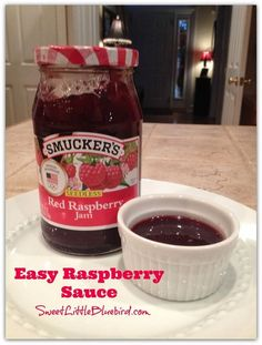 Easy Raspberry Sauce! Ready in under a minute! Best dip for jalapeño poppers! Great over ice cream and pancakes! Wonderful for dipping jalapeño popper grilled cheese and monte cristo sandwiches! | SweetLittleBluebird.com