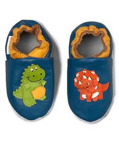 Blue & Orange Dinosaur Leather Booties - Infant by MOMO Baby #zulily #zulilyfinds