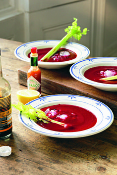From Hugh's new book: Bloody beetroot soup. Hugh says: I love the tangy, savoury flavours of a Bloody Mary and I like playing with them in the kitchen. In this very quick soup, they form the perfect counterpoint to the earthy sweetness of beetroot.