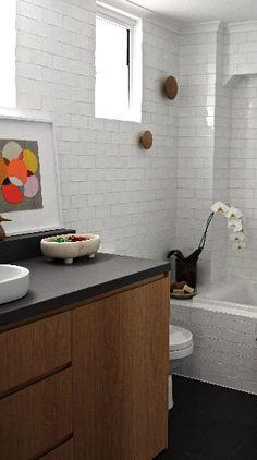 White subway tiles + dark grey floor + wood vanity + dark grey countertop h Ada Bathroom, Kid Bathroom Decor, Bathroom Plans, Pirate Bathroom, Bathroom Ideas, Wood Bathroom, Bathroom Renovations, Interior Design Portfolios, Interior Design Elements