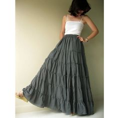 Gray cotton Boho Elastic  waist Long  Ruffle  Skirt S-XL (H) on Etsy, $55.00