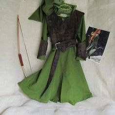 Girl's Tauriel The Warrior Elf Costume: Dress With Hood, Belt, Arm bands, & Armor Vest, Size 8 - 10, Ready To Ship on Etsy, $185.00