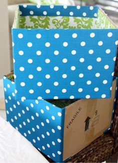 IHeart Organizing: Project Pretty: DIY Fabric Boxes & a Link Party!