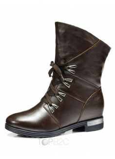 Quality Brown Round Toe Cowhide Woman's Flat Ankle Boots