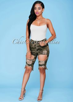 Chic Couture Online - Kaelah Camo Denim Destroyed Bermuda Shorts.(http://www.chiccoutureonline.com/kaelah-camo-denim-destroyed-bermuda-shorts/)