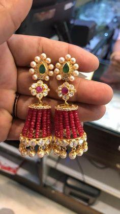Where Sell Gold Jewelry Silver Jhumkas, Gold Jhumka Earrings, Gold Earrings Designs, Gold Jewellery Design, Bead Jewellery, Beaded Earrings, Gold Jewelry, Jewelery, Diamond Jhumkas