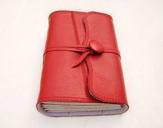 Handmade Red leather journal sketchbook travel book by ArtsBooks, $34.99
