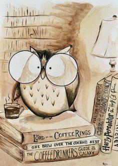 Coffee Owl Print Book Nerd by TheCoffeeTree on Etsy Coffee And Books, I Love Coffee, Owl Coffee, Coffee Break, Morning Coffee, Coffee Life, Coffee Lovers, Sunday Morning, Iced Coffee