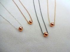 Handmade Delicate Rose Gold Filled 14/20 Ball Charm and 14k Gold Fill / Sterling Silver Chain Necklace Gift Idea; Gift for Her; Gift for Mom on Etsy, $32.00
