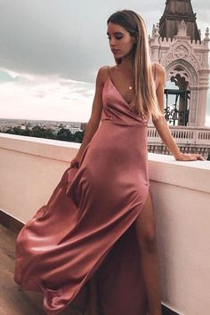 Long Prom Dresses Modest, 2019 Elegant Formal Dresses With Slit, A Line Pageant Dresses V Neck - Kleider -Mode/ Fashion Elegant Prom Dresses, A Line Prom Dresses, Prom Party Dresses, Pageant Dresses, Modest Dresses, Satin Dresses, Ball Dresses, Simple Dresses, Sexy Dresses