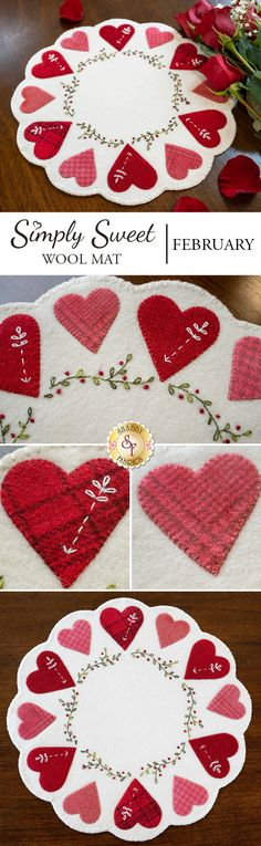 Simply Sweet Mats - February - Wool Kit - Sweet pink and red hearts adorn this wool scalloped mat! Beautiful textures and patterns withi - Felted Wool Crafts, Felt Crafts, Fabric Crafts, Valentine Decorations, Valentine Crafts, Valentines, Wool Applique Patterns, Mug Rug Patterns, Crazy Quilt Stitches