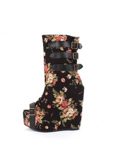 Retro Buckled Peep Toe Wedges Heel Floral Short Boots on sale only US 19.50  now 77812854de