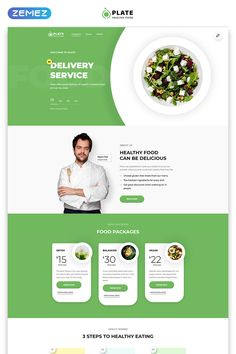 Free Wordpress Landing Page Template Awesome Plate Healthy Food E Page Clean HTML Landing Page Website Design Inspiration, Landing Page Inspiration, Ui Inspiration, Landing Page Html, Landing Page Design, Banners Web, Web Banner, Design Thinking, Healthy Food Plate