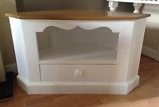 Corner TV Unit with Drawer. White and Light Oak. Corner Tv Unit, Cupboard, Cabinet, Light Oak, My Ebay, Drawers, The Unit, Hand Painted, Contemporary