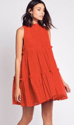 10 Trends to Get Behind This Spring This swinging mini dress with multi-tier ruffles made from eyelet lace cotton in a stunning, universally flattering red is perfect for beach, brunch, cocktails … Spring Fashion Trends, Spring Summer Fashion, Spring Trends, Spring Style, Casual Dresses, Fashion Dresses, Summer Dresses, The Dress, Dress Skirt