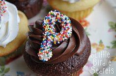 monogram cupcake toppers | Little Birdie Secrets
