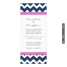 So neat - Wedding Invitations Blue Hot Pink Chevron - Zazzle | CHECK OUT MORE IDEAS AT WEDDINGPINS.NET