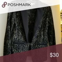 Loft tuxedo style knit blazer Black with gold lurex satin collar knit blazer, worn only 2 times LOFT Jackets & Coats Blazers