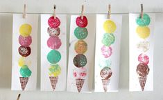Colorful Ice Cream Art - An Easy Printmaking Project for Kids - Colorful Ice Cream Art – An Easy Printmaking Project for Kids - Play Ice Cream, Ice Cream Art, Summer Ice Cream, Ice Cream Theme, Projects For Kids, Crafts For Kids, Arts And Crafts, Diy Crafts, Summer Crafts