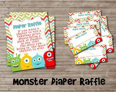 Printable Diaper Raffle for LITTLE MONSTER Baby Shower by DandeAve, $5.00