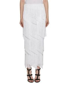 TOM FORD Tiered-Fringe Maxi Skirt, White. #tomford #cloth #