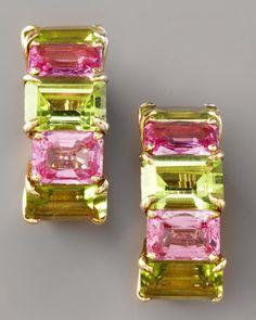 Peridot & Pink Sapphire Huggie Earrings by PAOLO COSTAGLI at Bergdorf Goodman.