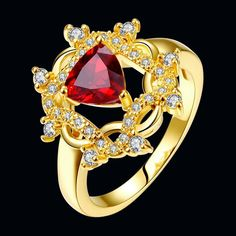 Classic 24K Gold Plated Geometric Multicolourcolour Cubic Zirconia Ring for Women GPR396 0