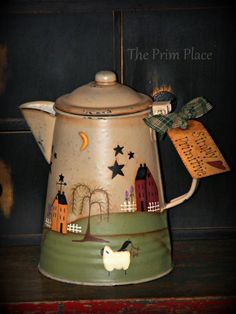 Handpainted Primitive Folk Art Camp Kettle by theprimplace on Etsy