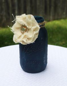 Mason Jar Distressed Mason Jar Navy Mason Jar by WishListEvents