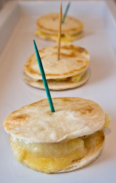 Mac & Cheese Mini Quesadillas On Toothpicks...pretty sure this is what they serve as drunk food in heaven