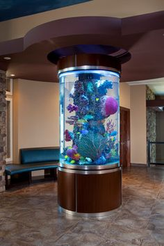 42 Astonishing Aquarium Design Ideas For Indoor Decorations - An aquarium is an enclosure with at least one clear side that houses water-dwelling fish, plants and other livestock and decorations. An aquarium offe. Aquarium Design, Aquarium Architecture, Architecture Design, Fish Tank Design, Cool Fish Tanks, Amazing Aquariums, Tanked Aquariums, Home Look, Home Decor