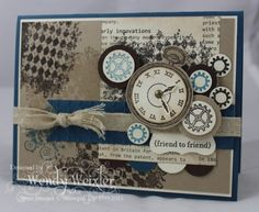 """I love this collage of elements that are all part of the """"Clockworks"""" stamp set (Stampin' Up 2012-2013 catalog) and the color combo.  Nice job!"""