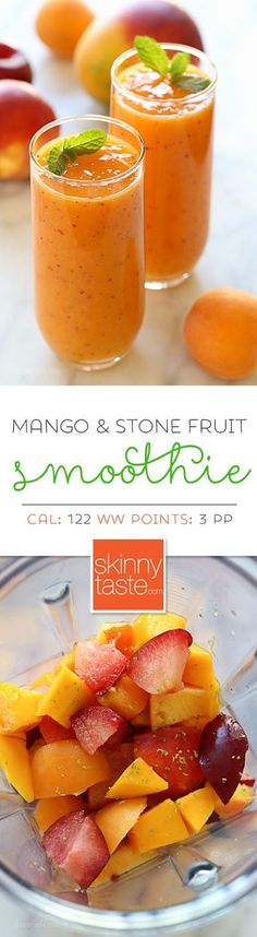 Summer Mango Stone Fruit Smoothie – a dairy-free, gluten-free, vegan smoothie that is simply delicious, made with ripe mango, plums, apricots and peaches or nectarines. Fruits sugars gives you a total boost after your gym workout