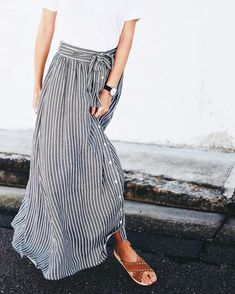 Rail Road stripe Maxi with buttons (swoon)