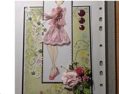 Made by Mandy Carnaby......Julie nutting....Prima doll stamped, coloured with copics and paper pieced. Pink lace trim made up her skirt and scarf.