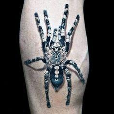 Black And White Ink Male Tattoo Of Tarantula Spider