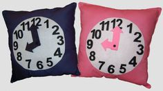 "Children's learning clock pillow. 12"" x 12""child's activity pillow, woven cotton front and back, poly fill, felt face with movable hands."