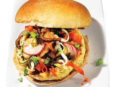 "An East meets West low calorie crunch! Vietnamese ""Banh Mi"" Chicken Burger"